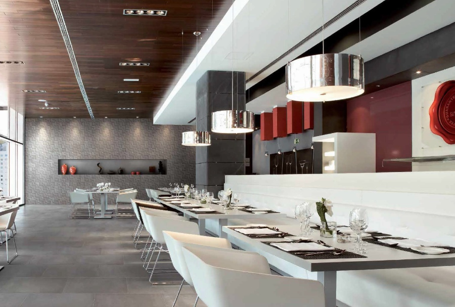 Stylish Dining Area Featuring Chrome Forest Surfaces