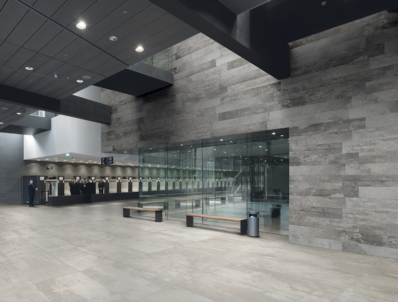Raw Mix Tile Featured Within Reception Area