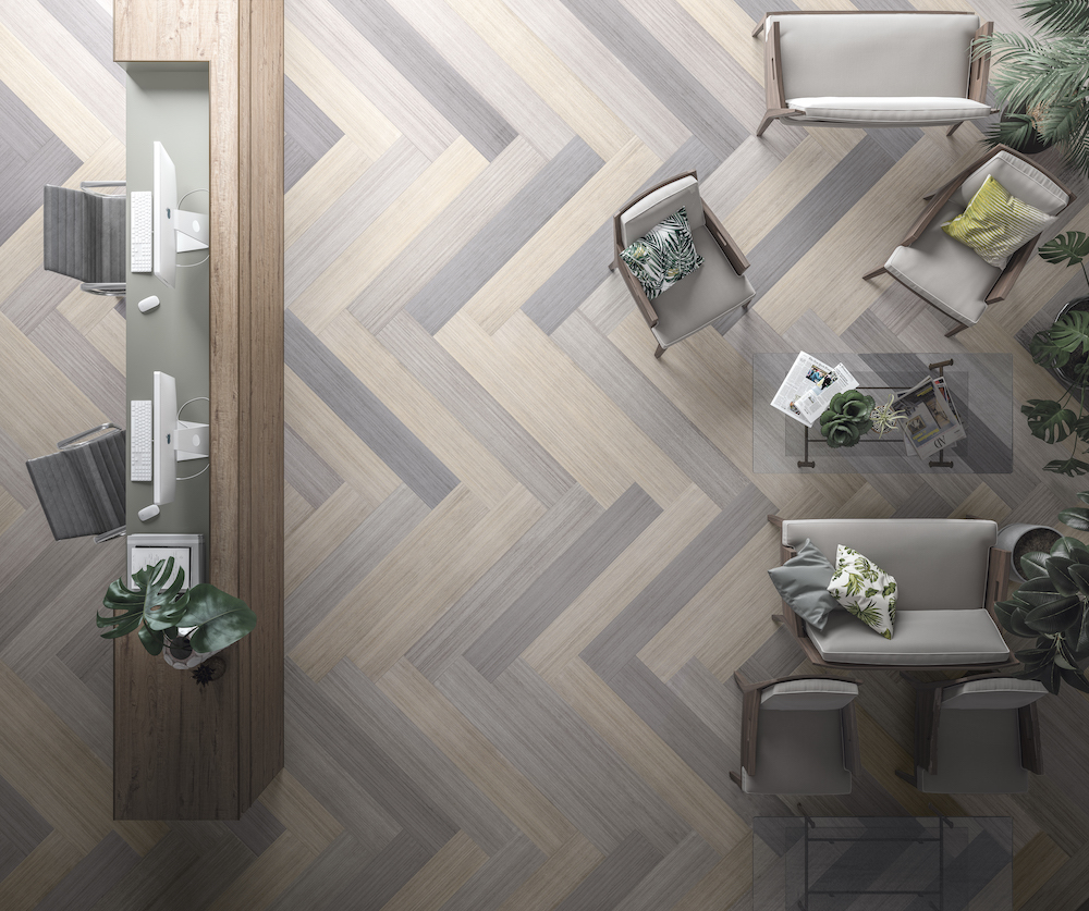 Reception Area Featuring Ash, Beige, and Grey Panels