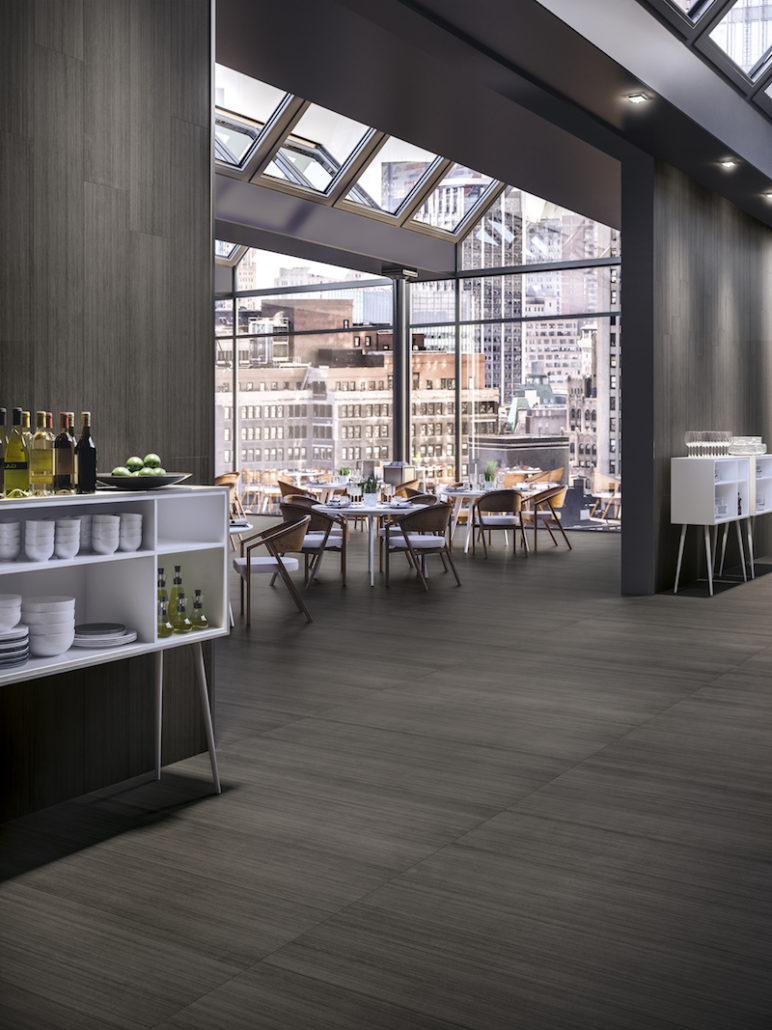 Chic Dining Area Featuring Fusion Black Surfaces