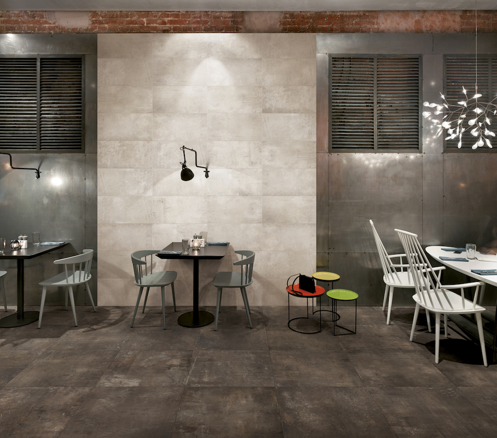 Industrial Dining Area Featuring Plant Iron Tiles
