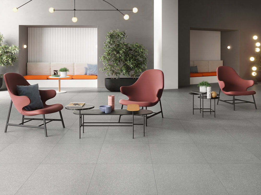 Comfortable Seating Area Featuring Stone Tiles